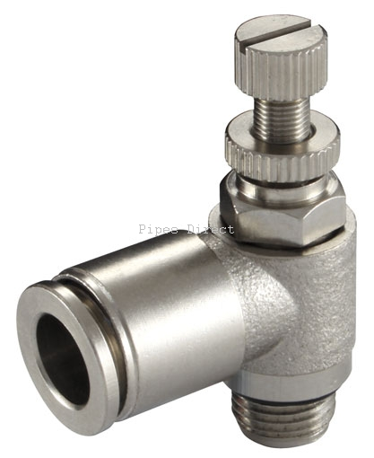 Speed control valve with slotted head bspp metal push