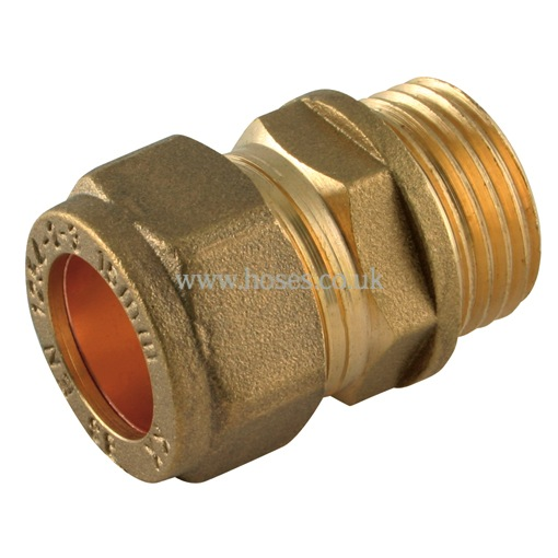 Bspp male metric straight coupling brass