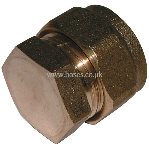 Stop end metric brass plumbing compression fitting