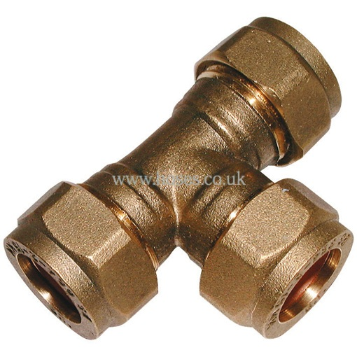 Equal tee metric brass plumbing compression fitting