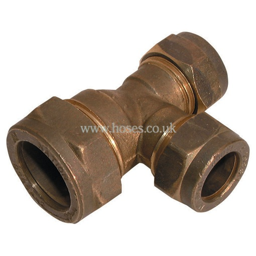 Reducing tee metric brass plumbing compression fitting