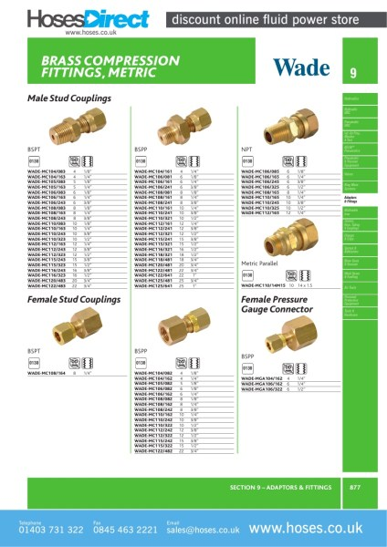 Bspt male stud coupling metric brass compression fitting
