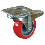 Polyurethane Tyre With Bearing, With Total Stop Brake, 22 Series Swivel Plate Fitting Castor