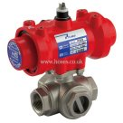 Prisma BSPP, T Ported, Double Acting, Pneumatic Actuated 3 Way Stainless Steel Valve