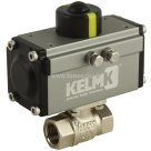 KELMK BSPP, Aluminium, Double Acting Actuator, Nickel Plated Brass Body Ball Valve