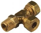 BSPT Male Stud Run Tee Imperial Brass Compression Fitting