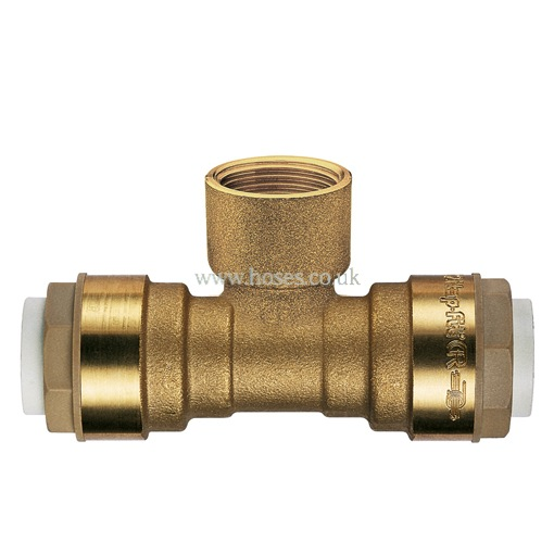 Bspt female branch tee itap fit brass push in plumbing